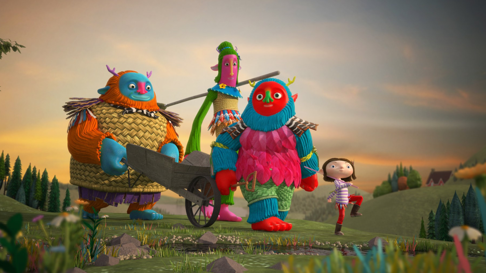 Still from animation trailer, Lila and the Giants, showing 3 giants walking in the country with Lila leading the way