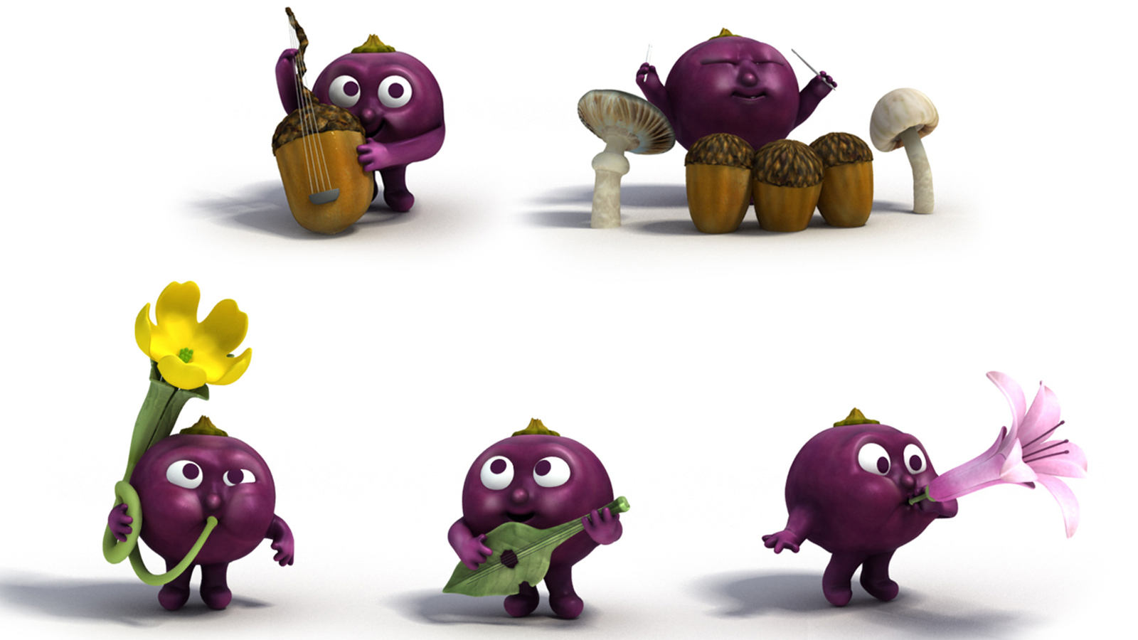 Ribena berries rendered out in group with instruments