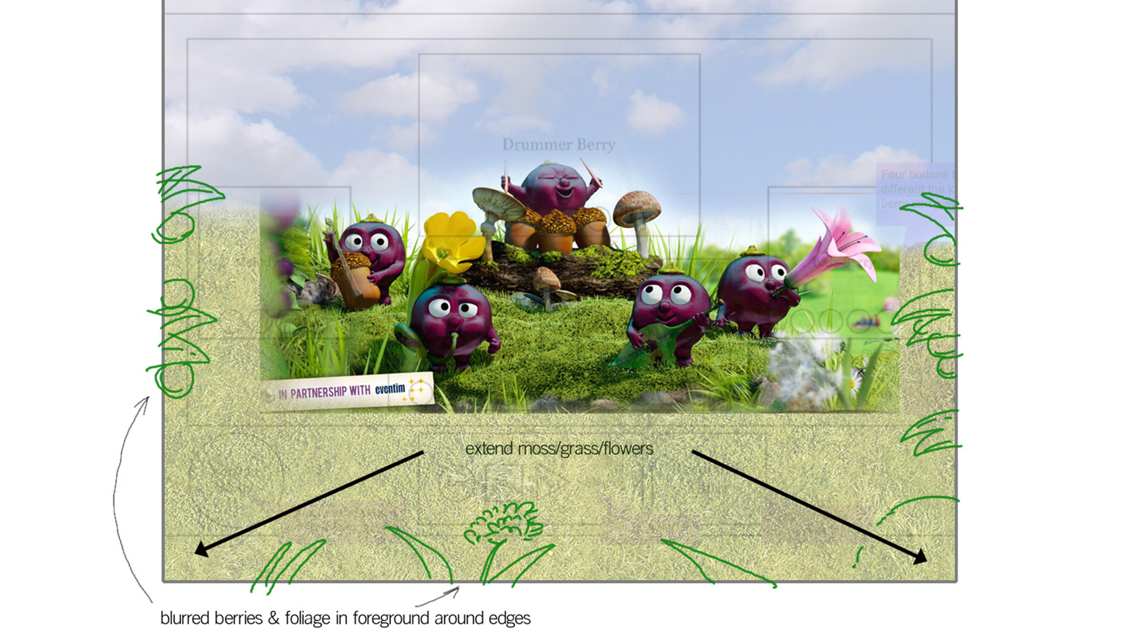Layout sketches for ribena berry game, including 3d berrys and assets