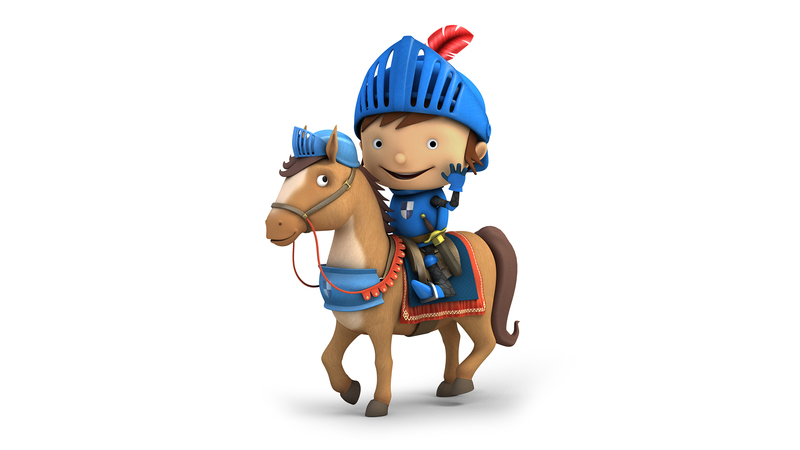 Mike the Knight on his horse, 3d render