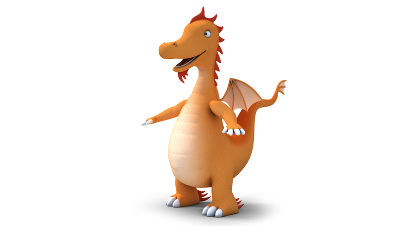 3d render of the original Sparkie dragon