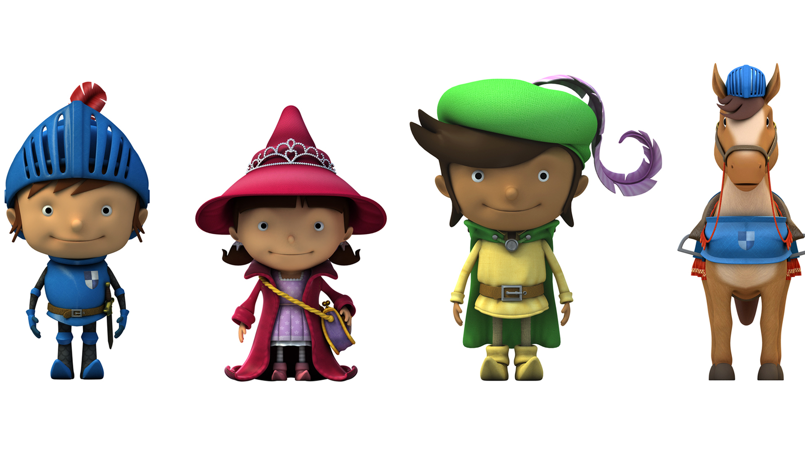 render of characters in line up from mike the knight