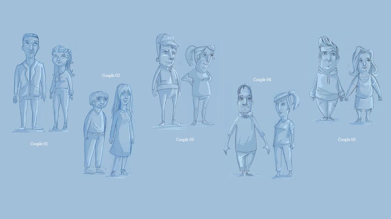 Initial rough sketches of characters for Saison Kuche project