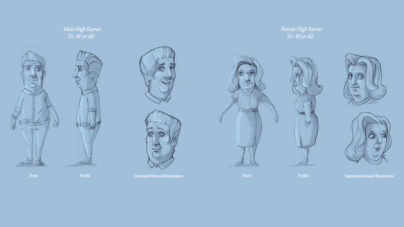 Refined rough sketches of characters for Saison Kuche project