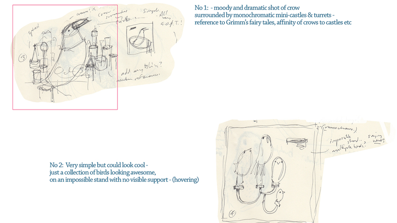 Concept sketches and notes for Dino Bird project