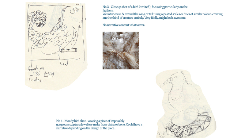 Further concept sketches and notes for Dino Bird project