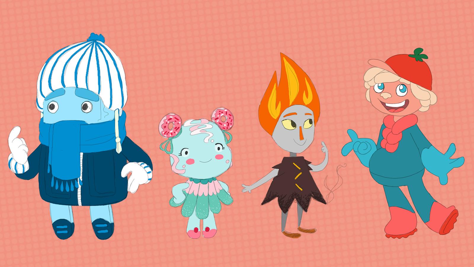 Artwork of main characters, Henry Fridge, Suzi Sweet, Smoki Oven and Sav Savorio