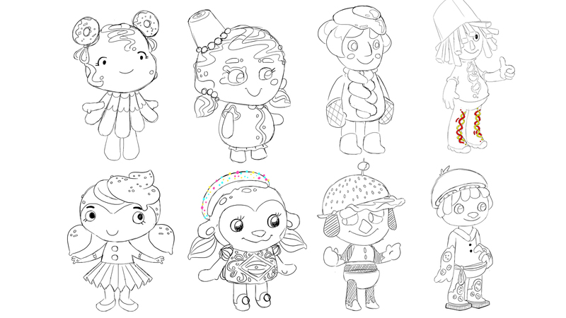 line art character sketches of Suzi options and Sav options