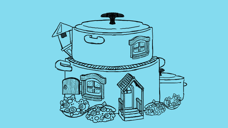 A set of cooking pan houses from The Cookpot Gang. Line art