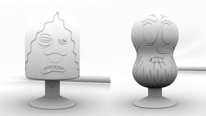 Block family characters in greyscale with occlusion pass