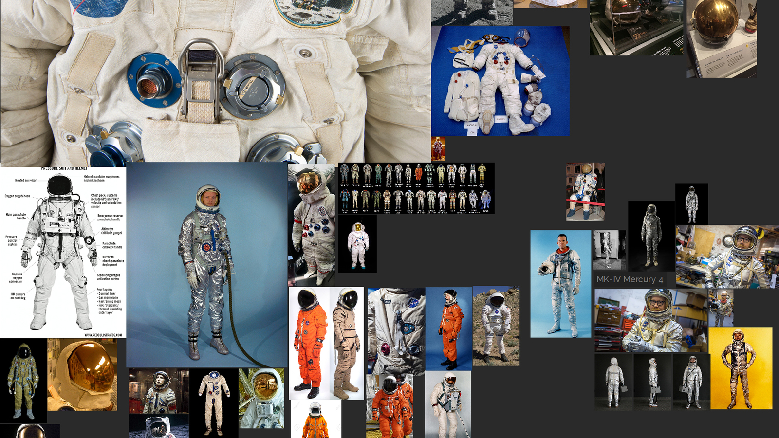 sample mood board consisting of astronaut reference images, used as inspiration for the making of Transmissions piece