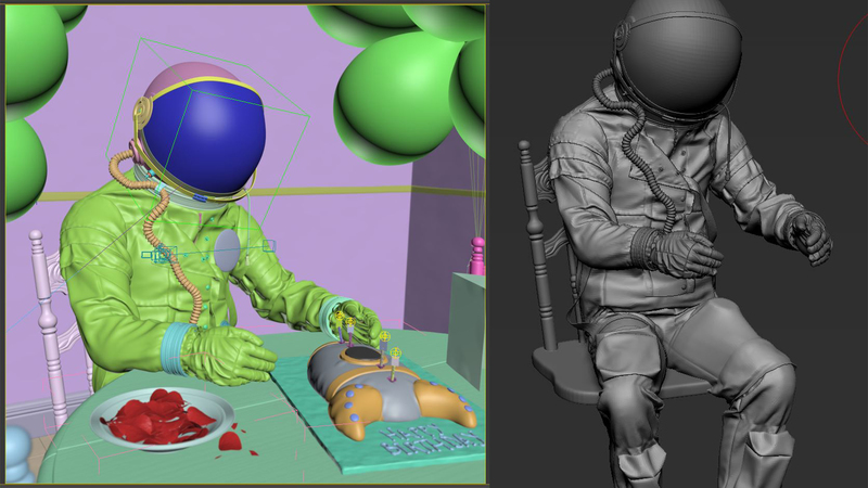 Screengrabs of set and character layout in 3ds Max and Z Brush Sculpt of Space Man sat in chair