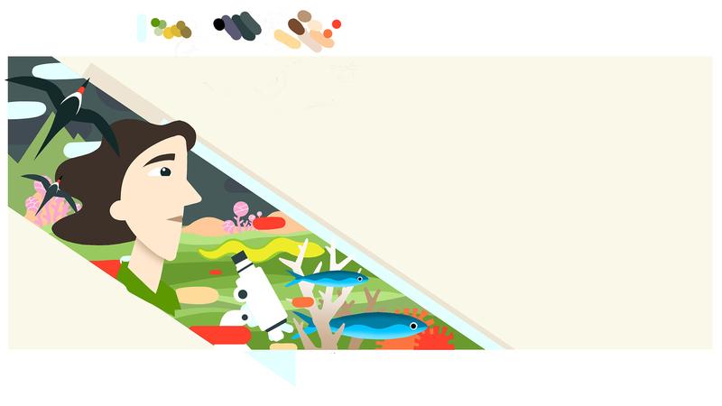 Rough colour sketch of Rachel Carson