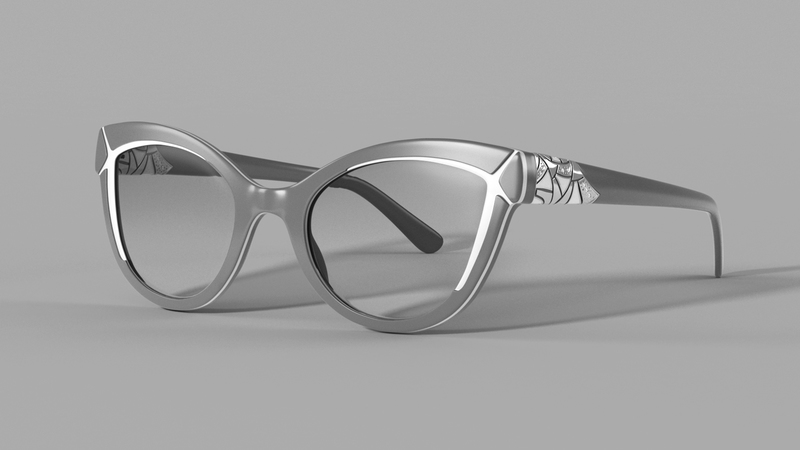 Greyscale render of CG Sunglasses
