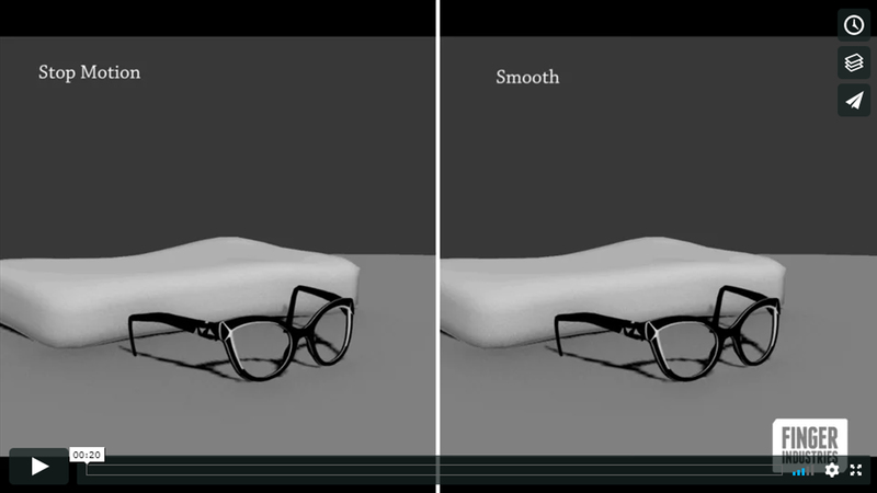Frame from clip of early animation tests, comparing smooth animation to stop motion animation