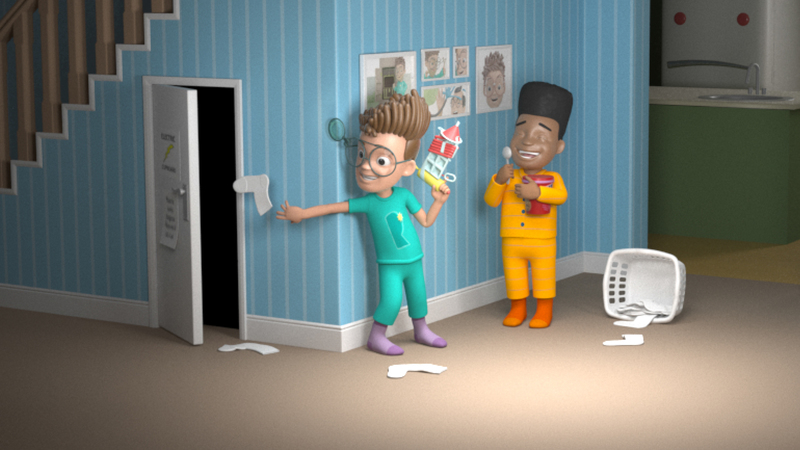 Render of Ready Rufus 3D character and louis 3D character having fun together in the house, during a sleep over