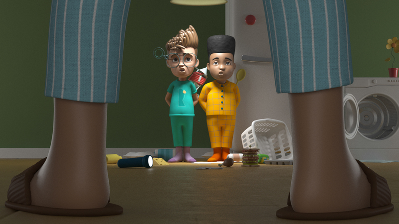 Render of Rufus and Louis getting caught out by Dad