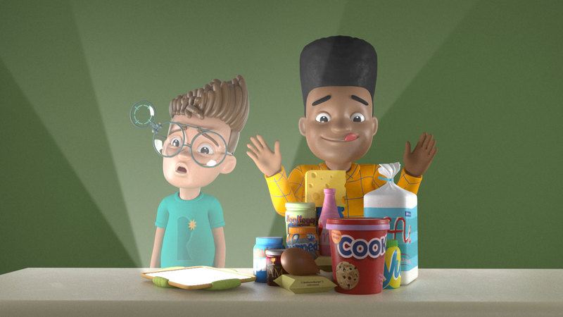 Render of Rufus and Louis in the kitchen for a midnight feast
