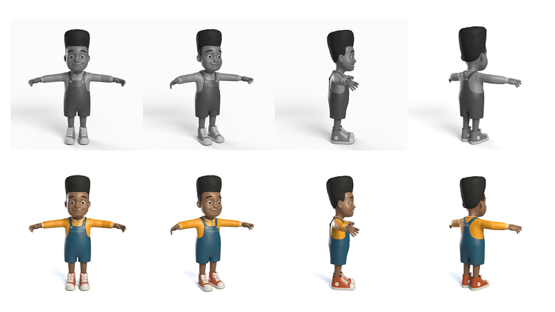 3D renders in greyscale and colour of Lous in T-pose