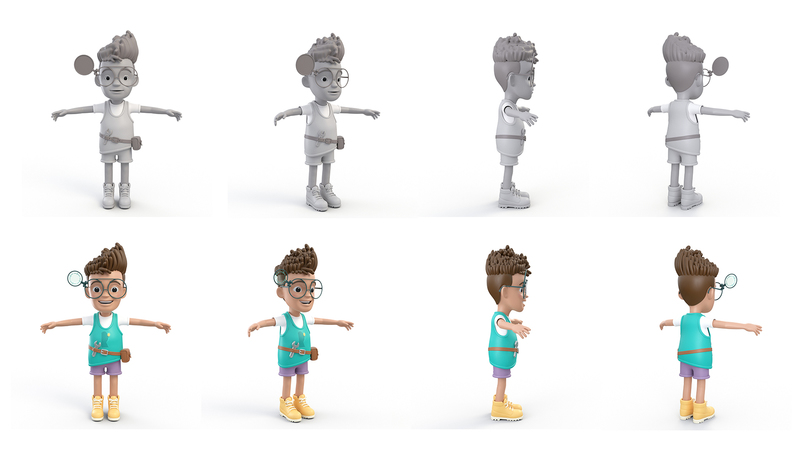 3D renders in greyscale and colour of Rufus in T-pose