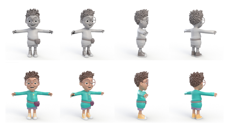 3D renders in greyscale and colour of Younger Rufus in T-pose
