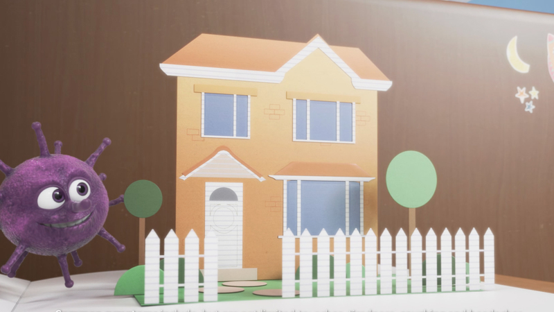 Vince the Virus character next to a house in the style of a pop up book