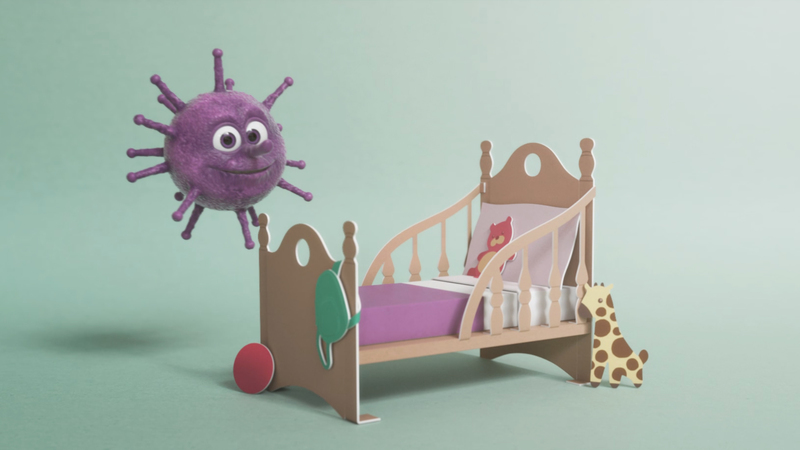 Vince the Virus character next to childs bed made in the style of a pop up book