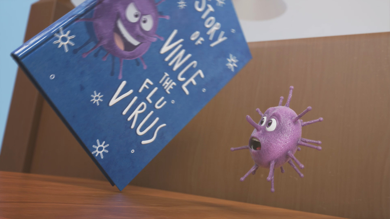 A rendered image of 'The story of Vince the Virus' CG book falling towards Vince the Virus character