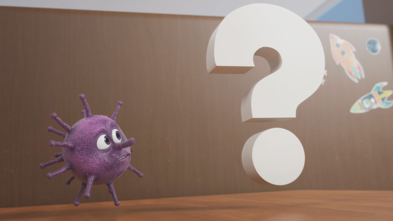 A rendered image of 'The story of Vince the Virus' question mark looming next to the Vince the Virus character