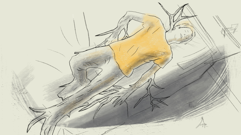 Frame from Peter's Diary, an animation from The Arthritis Patient Diaries series.  Peter is laying on his bed, his legs and arms are morphing into tree trunks and routes.
