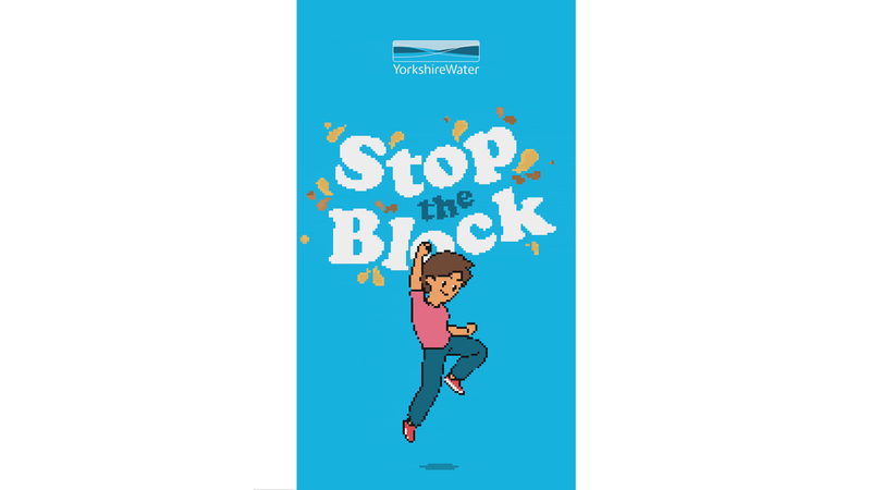 Image of character fist punching the air in trumph with the text Stop the block laid out in the background. End frame from the stop the block animation