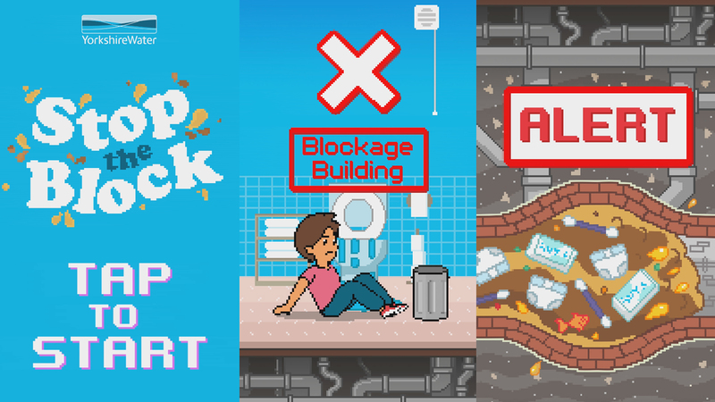 Screen grabs from Stop the block animation showing title screen, character in game play and blocked pipes.