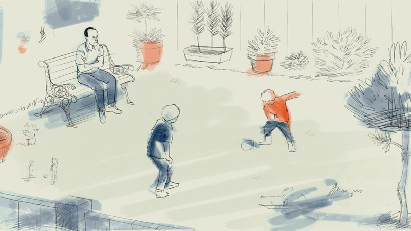 Frame from the animation Arthritis Patient Diaries. Steven is sitting on a garden bench, watching his children play football on the grass.