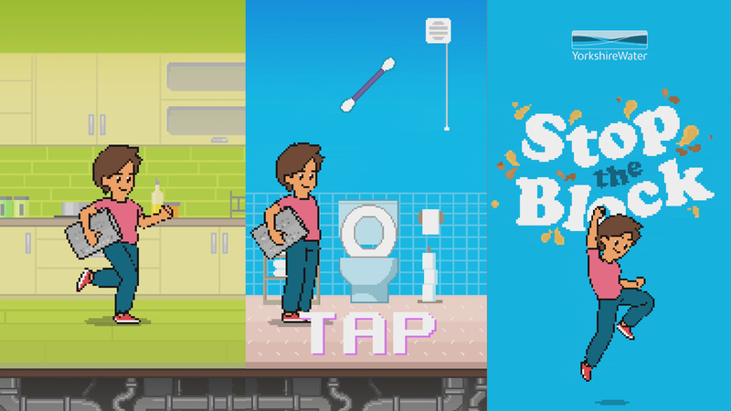 Screen grabs from Stop the block animation character in game play in kitchen and bathroom and the end screen where character punches the air in celebration of completing the game.d pipes.