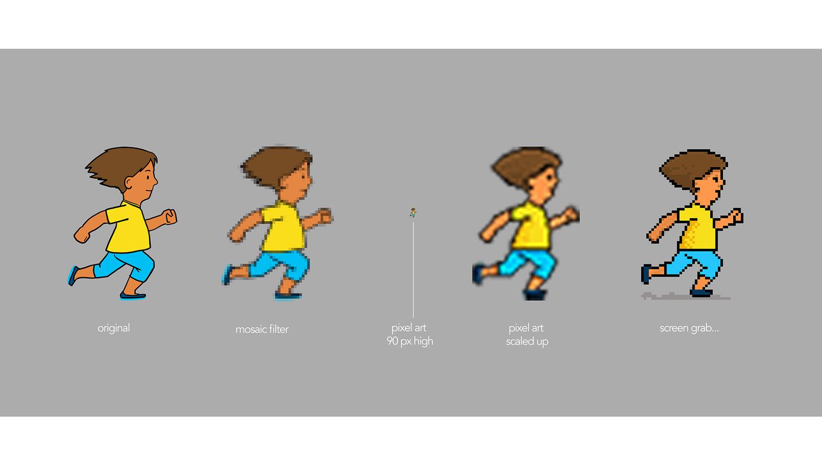 Pixel art character development, showing line art character progressing into pixel art