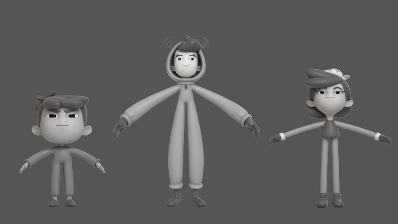 Greyscale of the sibling characters, in T-pose