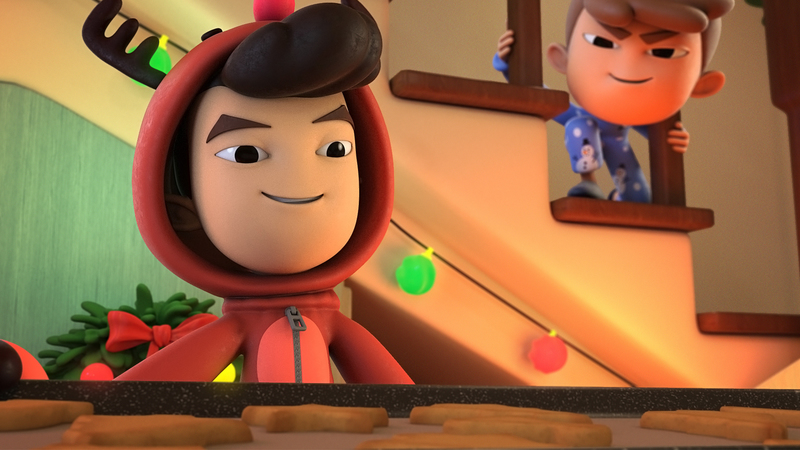 A 3D still of a boy holding a tray of cookies, in the background on the stairs is his younger brother sneakily looking at the tray.