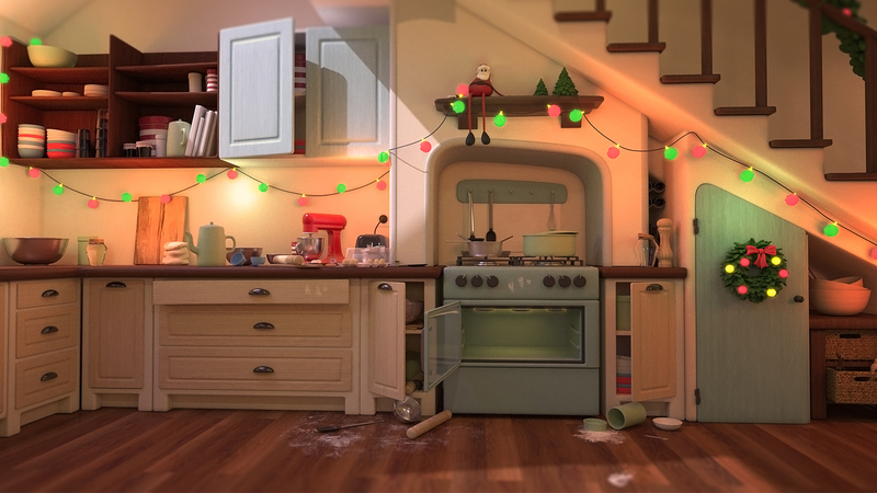 A 3D still of a kitchen in disarray with flour spilt on the floor and various items left on the counter tops and stove.