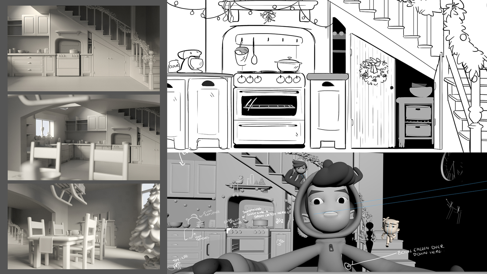 compilation of images from kitchen scene- 3D greyscale through to line art sets and directors notes for design considerations