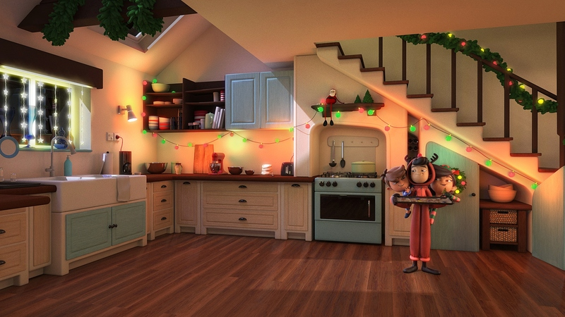 Clean kitchen with characters rendered into scene