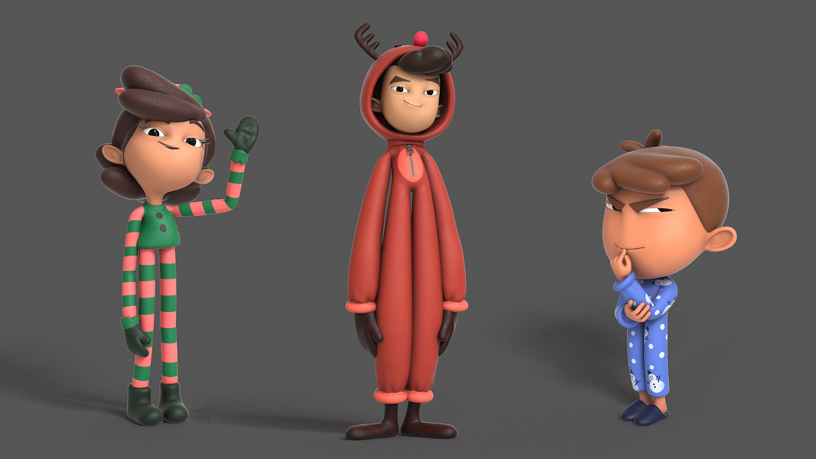 Group render of characters posed, 3d colour.