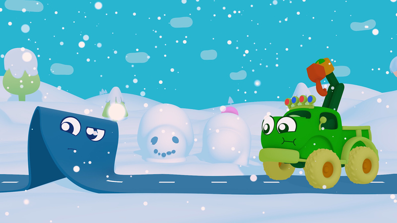 A still of a 3d animation. The road and the truck characters play in the snow. There are snowmen in the backdrop.