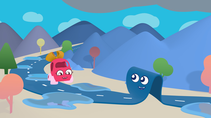 A still of a 3d animation. A pink car drives along a puddled road as the road character looks on. There are mountains in the backdrop.