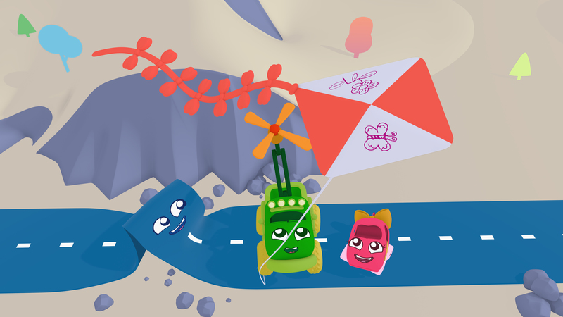 A still of a 3d animation. The three characters: the car, the truck and the road look up at a kite flying.