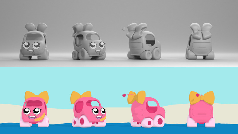 Grey and colour character turnaround of the pink car character