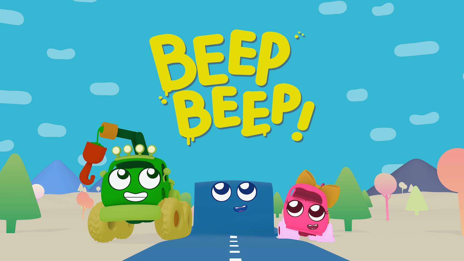 A 3D colour render of a the opening title with a green truck, a road and a pink car with smiles on their faces. The title, beep beep is in yellow.
