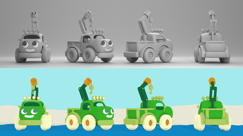 A greyscale and a colour character turnaround of the green truck character