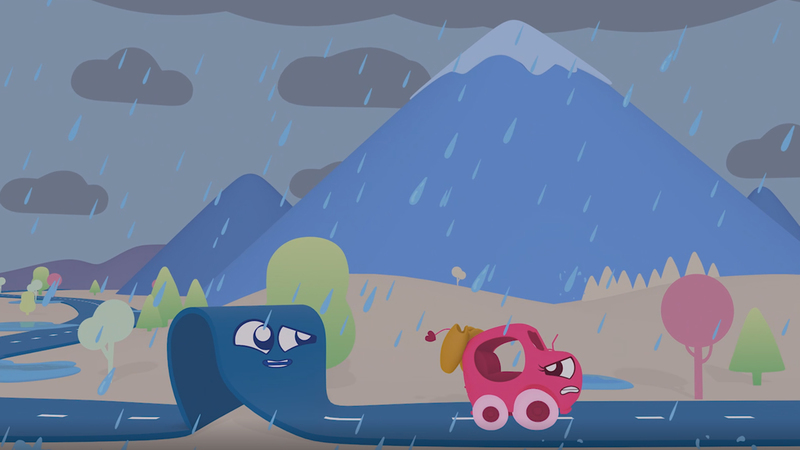 an image from the programme of roady and voom vam in the rain with mountains and rain clouds in the background.