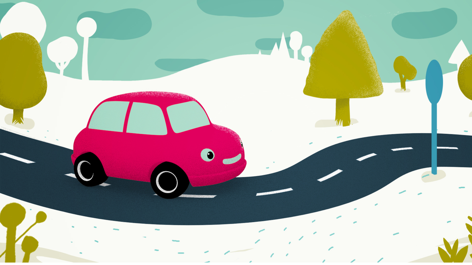A 2D design of a pink car travelling down a winding road lined with trees and plants.