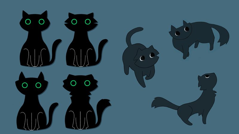 a character sheet of a black cat in several iterations